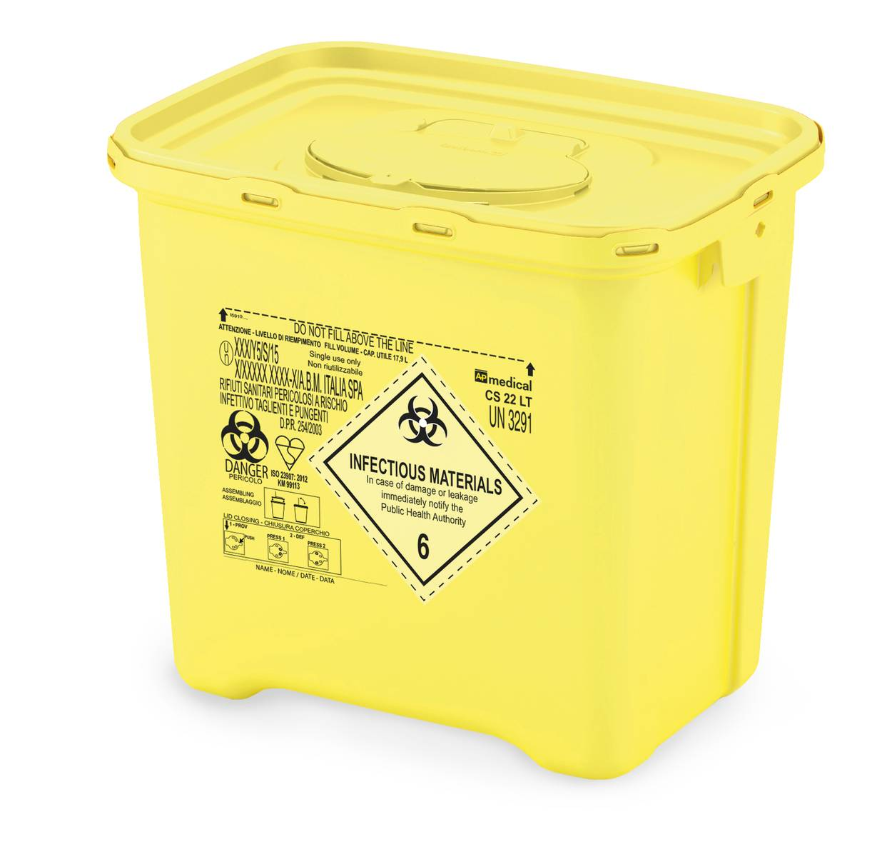 Waste Bin Infectious Waste 142l single use box set